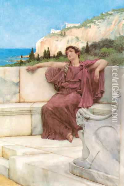 A Female Figure Resting (or Dolce far Niente) Oil Painting - Sir Lawrence Alma-Tadema