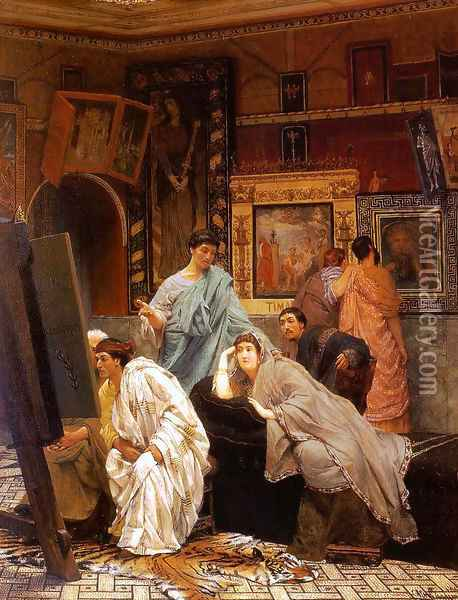 A Collection of Pictures at the Time of Augustus Oil Painting - Sir Lawrence Alma-Tadema
