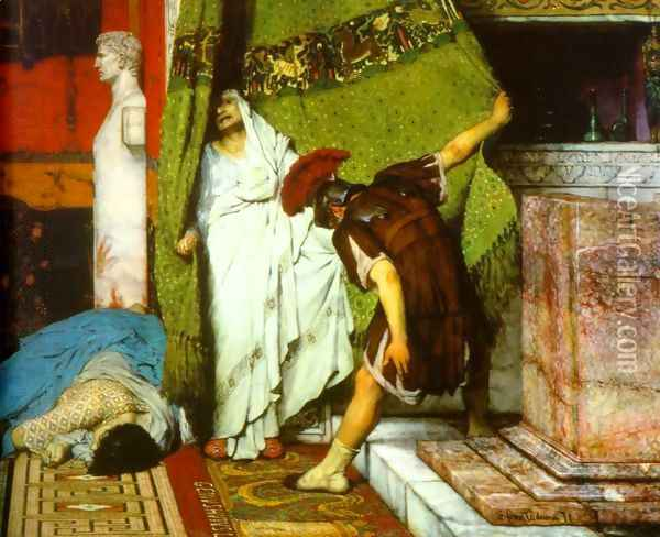 A Roman Emperor AD41 Detail I Oil Painting - Sir Lawrence Alma-Tadema