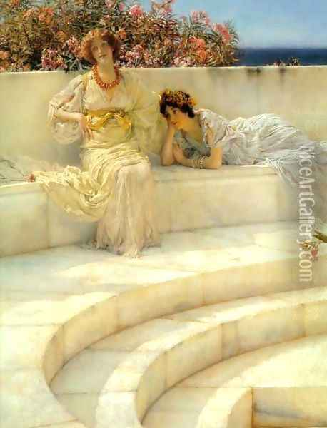 Under The Roof Of Blue Ionian Weather Detail Oil Painting - Sir Lawrence Alma-Tadema