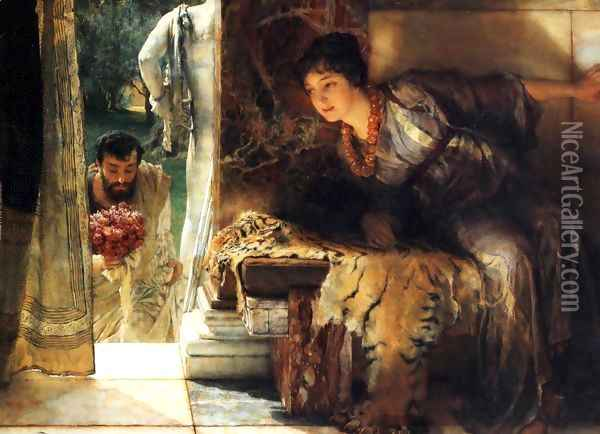 Welcome Footsteps 1883 Oil Painting - Sir Lawrence Alma-Tadema