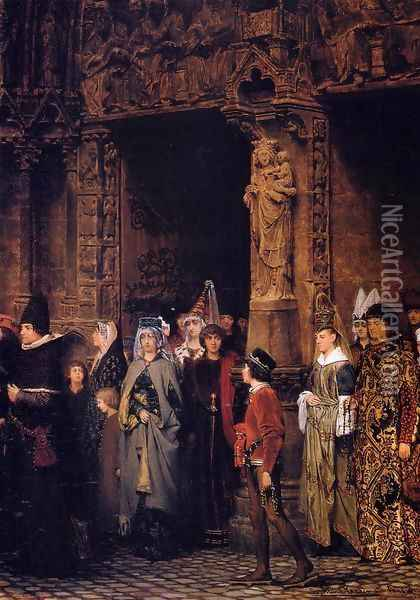 Leaving Church in the Fifteenth Century Oil Painting - Sir Lawrence Alma-Tadema