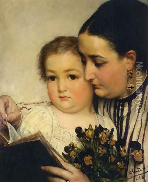 Portrait Of Mme Bonnefoy And M Puttemans Oil Painting - Sir Lawrence Alma-Tadema