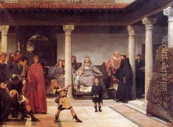 The Education of the Children of Clovis Oil Painting - Sir Lawrence Alma-Tadema
