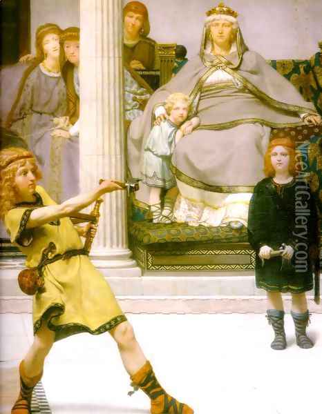 The Education Of The Children Of Clovis Detail Oil Painting - Sir Lawrence Alma-Tadema