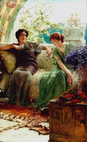 Unwelcome Confidences Oil Painting - Sir Lawrence Alma-Tadema