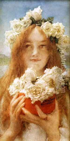 Summer Offering (or Young Girl with Roses) Oil Painting - Sir Lawrence Alma-Tadema