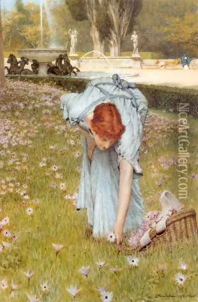 Flora (or Spring in the Gardens of the Villa Borghese) Oil Painting - Sir Lawrence Alma-Tadema