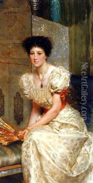 Portrait Of Mrs Charles Wyllie Oil Painting - Sir Lawrence Alma-Tadema