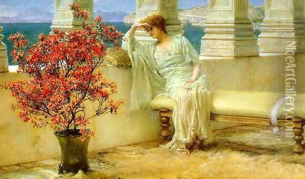 Her Eyes are with Her Thoughts and They are Far Away Oil Painting - Sir Lawrence Alma-Tadema