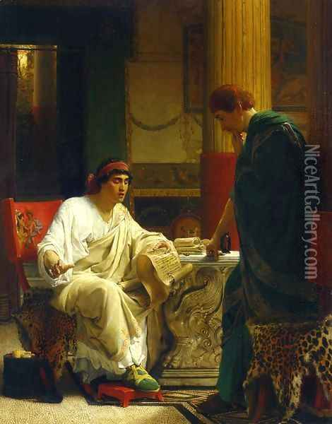 Vespasian Hearing from One of His Generals of the Taking of Jerusalem by Titus Oil Painting - Sir Lawrence Alma-Tadema