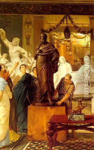 A Sculpture Gallery in Rome at the Time of Agrippa Oil Painting - Sir Lawrence Alma-Tadema