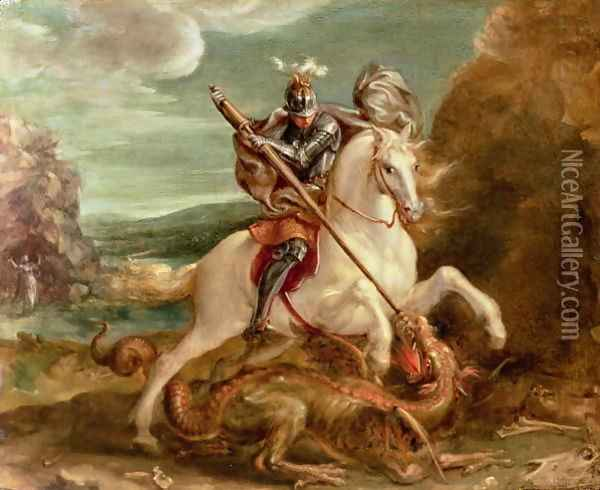 St. George slaying the dragon Oil Painting - Hans Von Aachen
