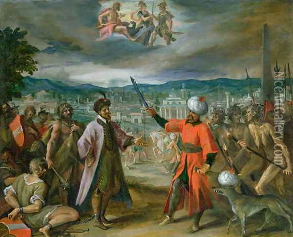 Allegory of the Turkish Wars- The Declaration of War at Constantinople, 1603-04 Oil Painting - Hans Von Aachen