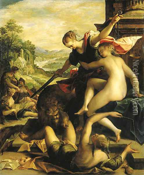 The Triumph of Truth and the Imperial Cause Oil Painting - Hans Von Aachen