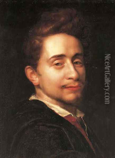 Portrait of a young man, bust-length, in a dark coat Oil Painting - Hans Von Aachen