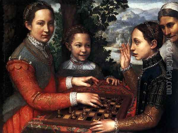 Portrait of the Artist's Sisters Playing Chess 1555 Oil Painting - Sofonisba Anguissola