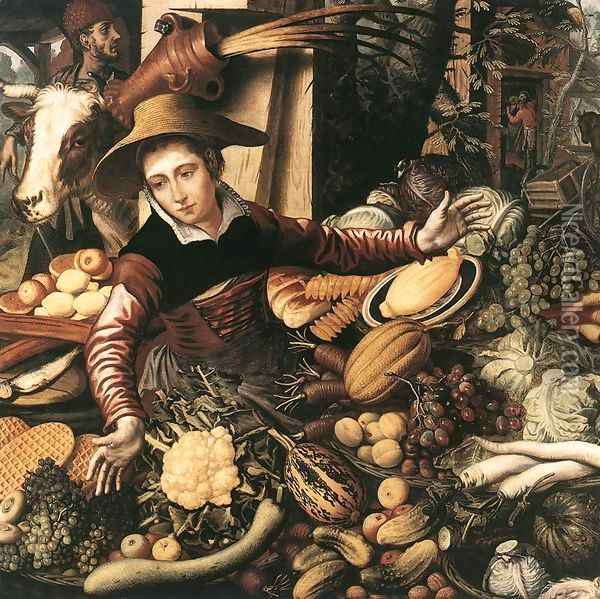 Market Woman With Vegetable Stall 1567 Oil Painting - Pieter Aertsen