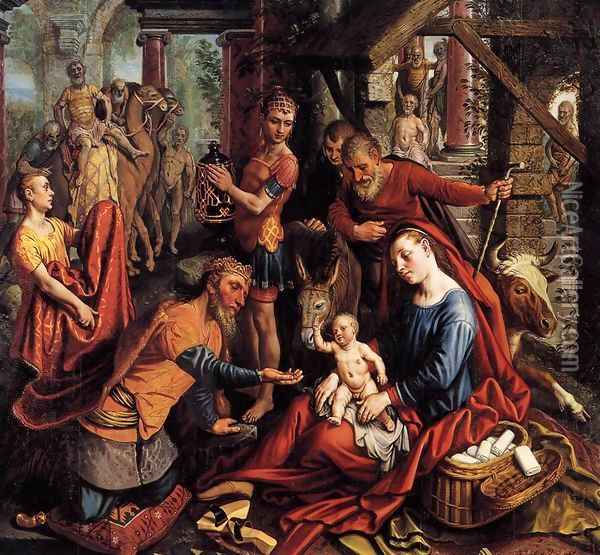 Triptych with the Adoration of the Magi (central panel) Oil Painting - Pieter Aertsen