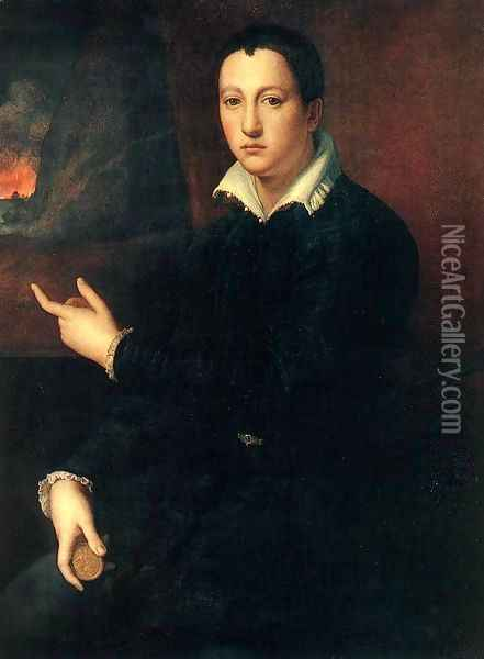 Portrait of a Young Man Oil Painting - Alessandro Allori