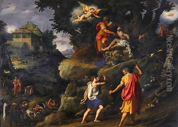 Sacrifice of Isaac 1601 Oil Painting - Alessandro Allori