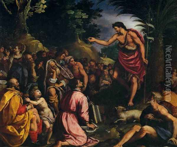 The Preaching of St John the Baptist Oil Painting - Alessandro Allori