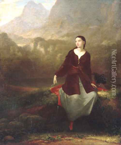 The Spanish Girl in Reverie 1831 Oil Painting - Washington Allston