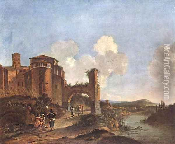 Italian Landscape with SS. Giovanni e Paolo in Rome Oil Painting - Jan Asselyn