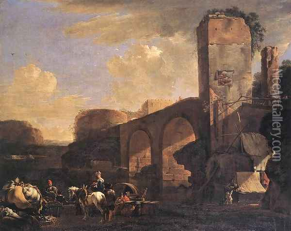 Italianate Landscape with a River and an Arched Bridge c. 1648 Oil Painting - Jan Asselyn