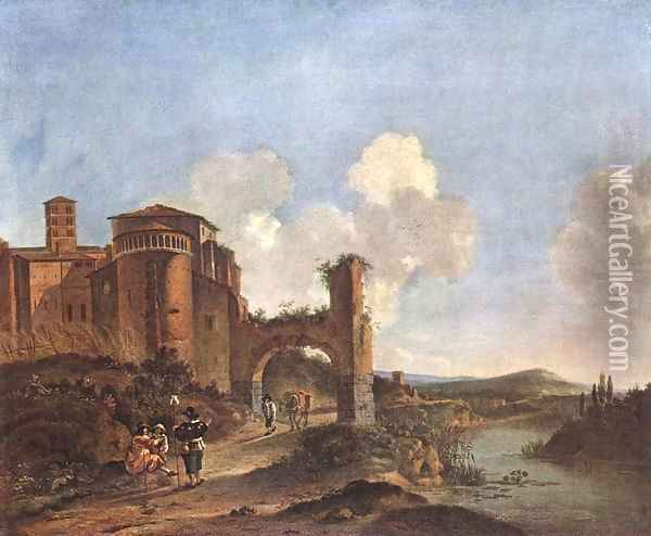Italian Landscape with SS. Giovanni e Paolo in Rome 2 Oil Painting - Jan Asselyn
