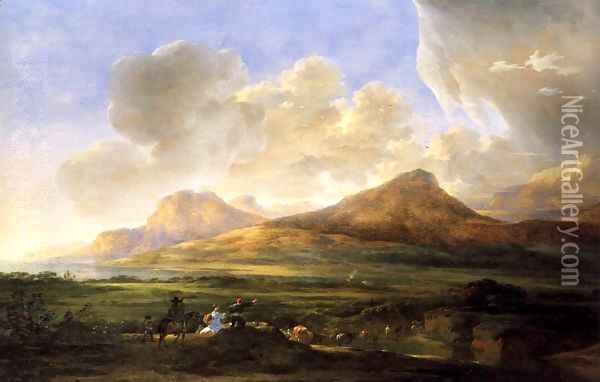 River Bank with Herdsmen 1650 Oil Painting - Jan Asselyn
