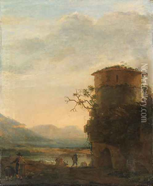 Peasants and cattle beside a tower in an extensive landscape Oil Painting - Jan Asselyn
