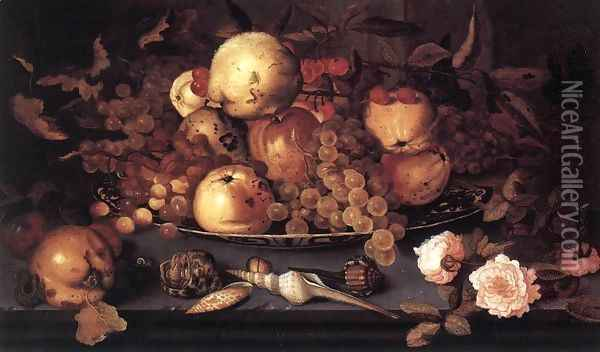 Still Life With Dish Of Fruit Oil Painting - Balthasar Van Der Ast