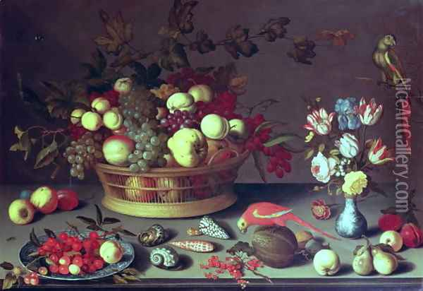 A basket of Grapes and other fruit Oil Painting - Balthasar Van Der Ast