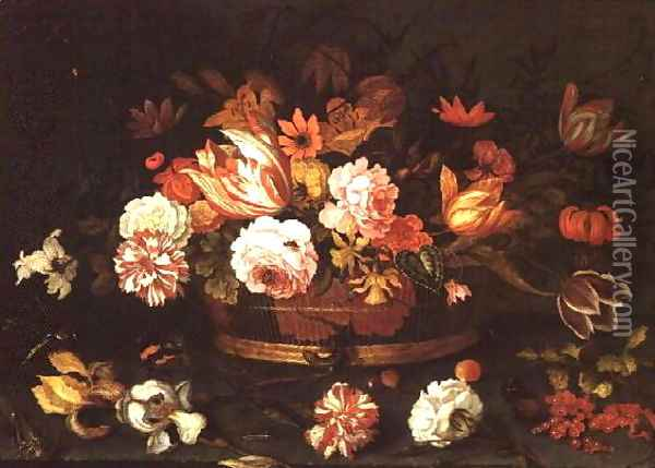 Roses, Tulips in a basket Oil Painting - Balthasar Van Der Ast