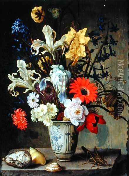 Floral Study with beaker, grasshopper and seashells Oil Painting - Balthasar Van Der Ast