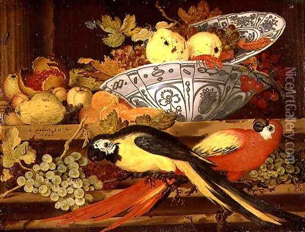 Still Life with Fruit and Macaws, 1622 Oil Painting - Balthasar Van Der Ast