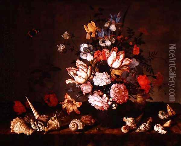 Still life of a vase of flowers with shells Oil Painting - Balthasar Van Der Ast