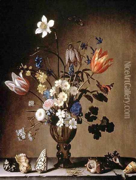 Still Life with Flowers and Shells Oil Painting - Balthasar Van Der Ast