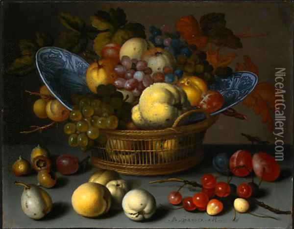 Basket of Fruits Oil Painting - Balthasar Van Der Ast