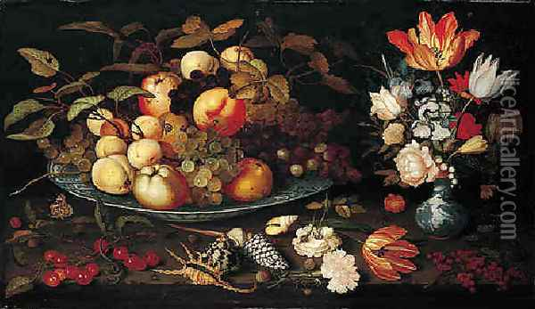 A still life of apples, grapes, and peaches in a blue and white porcelain bowl, a bouquet of tulips, ros Oil Painting - Balthasar Van Der Ast