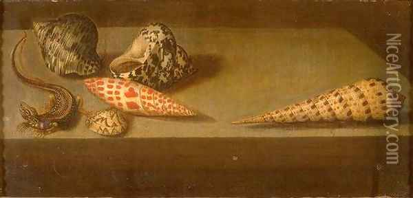 Lizards and shellfish Oil Painting - Balthasar Van Der Ast