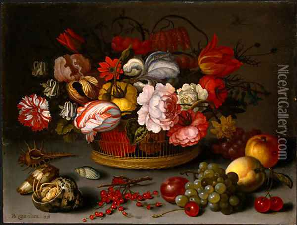 Basket of Flowers Oil Painting - Balthasar Van Der Ast