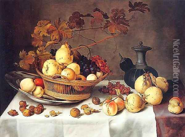 A Still Life of Pears, Peaches, Grapes and Quinces in a Basket Oil Painting - Balthasar Van Der Ast