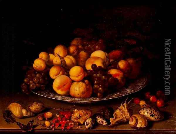 Fruit in a dish and shells Oil Painting - Balthasar Van Der Ast