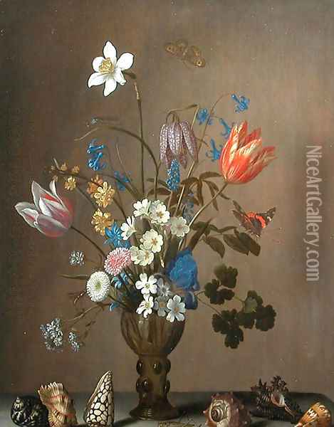 Flowers, shells, butterflies and grasshoppers Oil Painting - Balthasar Van Der Ast