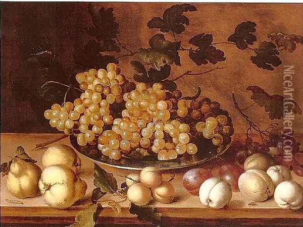 Still-life, Peaches, plums, pears and grapes Oil Painting - Balthasar Van Der Ast