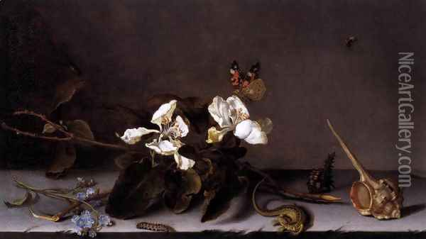 Still-Life with Apple Blossoms Oil Painting - Balthasar Van Der Ast