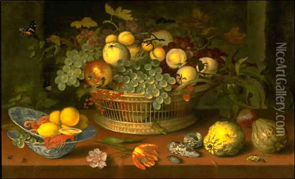 Still Life with a Basket of Fruit Oil Painting - Balthasar Van Der Ast