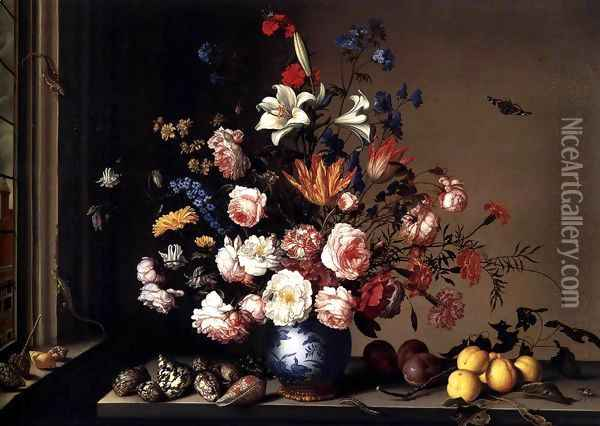 Vase of Flowers by a Window Oil Painting - Balthasar Van Der Ast